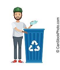 desperdicio, carácter, ambientalista, reciclaje, botella, ...