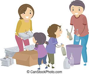 desperdicio, segregación, familia