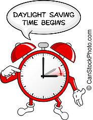 despertador, cambio, a, día, ahorro, tiempo