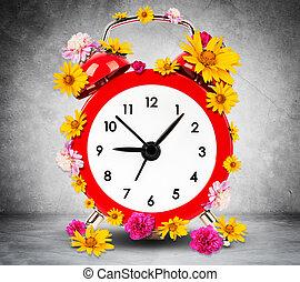 despertador, con, flores