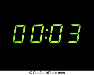 despertador, con, verde, dígitos