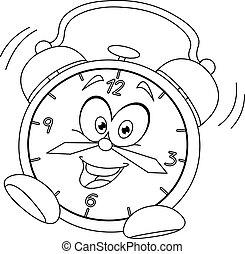 despertador, esboçado, caricatura