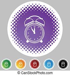 despertador, halftone, icono, conjunto