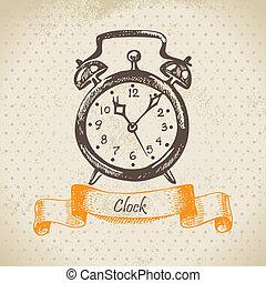 despertador, ilustração, mão, desenhado