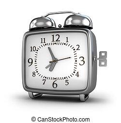 despertador, isolado, branco