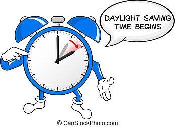 despertador, mudança, para, luz dia, poupar, tempo