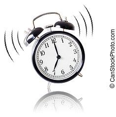 despertador toca, branco, fundo