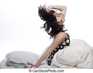 despertar, mujer, cama
