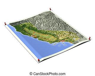 desplegado, mapa, sheet., california