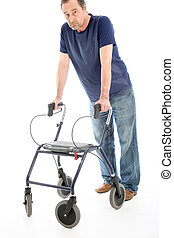 Despondent man leaning on medical walker