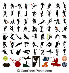 desportistas, ilustração, colour., silhuetas, vetorial,...