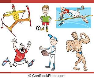 desportistas, jogo, caricatura