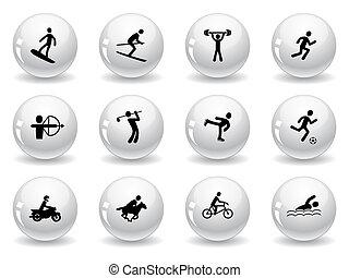 desporto, ícones correia fotorreceptora, jogos, botões