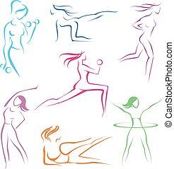 desporto, ans, meninas, condicão física, ícones