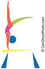 desporto, athelte, equilíbrio, barzinhos, ícone