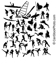 desporto, atividade, silhuetas