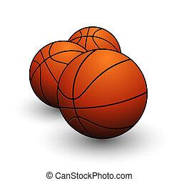 desporto, basquetebol, bolas, símbolo, cor alaranjada