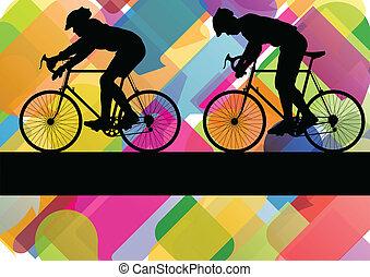 desporto, bicicleta estrada, cavaleiros, bicicleta, silhuetas, em, coloridos, abstratos, fundo, vetorial, ilustração