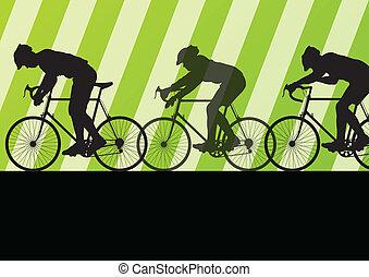 desporto, bicicleta estrada, cavaleiros, bicicleta, silhuetas, em, rodovia, estrada, fundo, ilustração, vetorial
