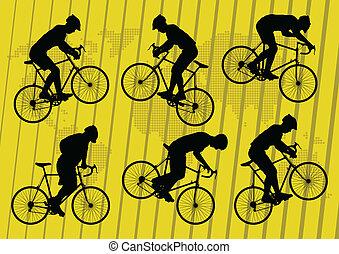 desporto, bicicleta estrada, cavaleiros, bicicleta, silhuetas, fundo, vetorial