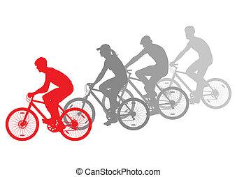 desporto, bicicleta estrada, cavaleiros, bicicleta, silhuetas, vetorial, fundo, vencedor, conceito