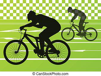 desporto, bicicleta estrada, cavaleiros, bicicleta, silhuetas, vetorial