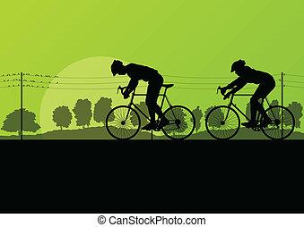 desporto, bicicleta estrada, cavaleiros, e, bicycles, detalhado, silhuetas, em, lado rural, selvagem, floresta, paisagem natureza, fundo, ilustração, vetorial