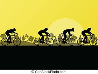 desporto, bicicleta estrada, cavaleiros, e, bicycles, detalhado, silhuetas, em, país, selvagem, floresta, paisagem natureza, fundo, ilustração, vetorial