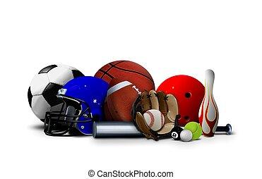 desporto, bolas, e, equipamento