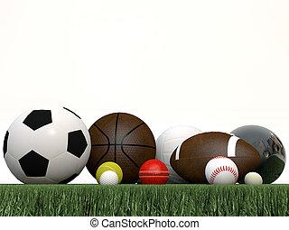 desporto, bolas, isolado, branco, fundo