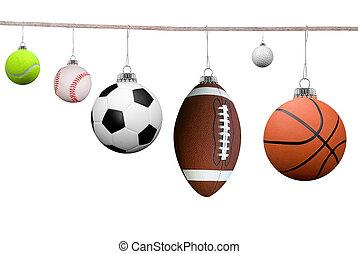 desporto, bolas, ligado, um, varal