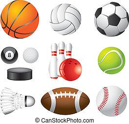 desporto, bolas, photo-realistic, vetorial, jogo