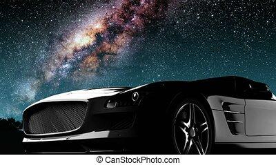 desporto, car, e, meio leitoso, estrelas, em, night.,...