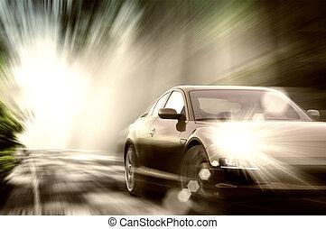 desporto, car, ligado, estrada