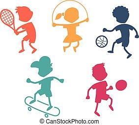 desporto, caricatura, ícones