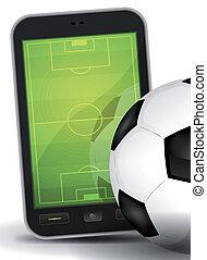 desporto, chão, ligado, smartphone, com, bola futebol