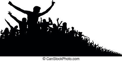 desporto, concerto, silueta, aplauso, torcida, pessoas, ventiladores, esportes, alegre, experiência., vetorial, partido