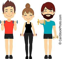 desporto, condicão física, dumbbell