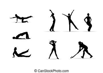 desporto, condicão física, mulher, silhuetas