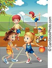 desporto, corte, tocando, crianças