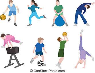 desporto, crianças, ilustração