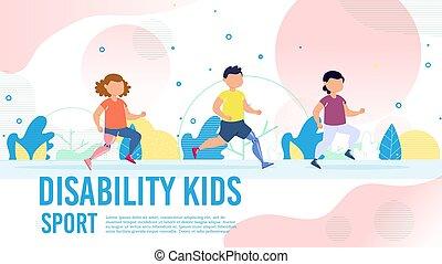 desporto, crianças, incapacitado, bandeira, vetorial, recuperação