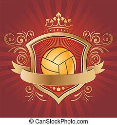 desporto, desenho, voleibol, elemento