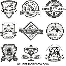 desporto, emblemas, eqüestre, jogo