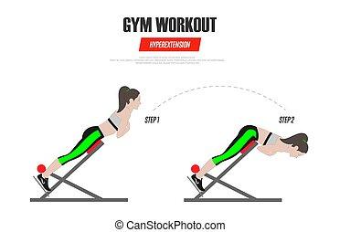 desporto, exercises., ginásio, workout., hyperextension, ligado, romana, chair., ilustração, de, um, estilo vida ativo, vetorial