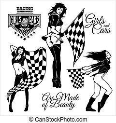 desporto, flags., meninas, correndo, excitado, automático, checkered, motor, rua, começar, racing.