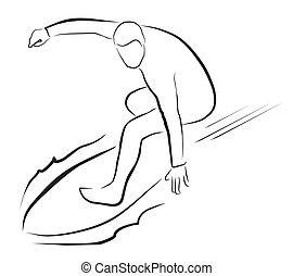 desporto, ilustração, surfista