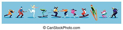 desporto, inverno, prática, pessoas, extremo, jogo