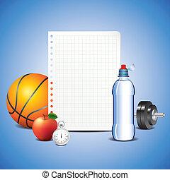desporto, itens, com, em branco, papel