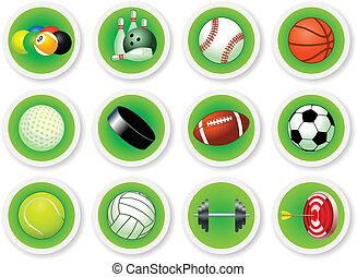 desporto, jogo, bolas, ícone